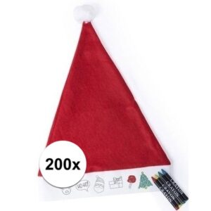 200x Kerstmuts voor kinderen inkleurbaar inclusief 4 waskrijtjes