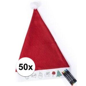 50 Kerstmutsen voor kinderen inkleurbaar inclusief 4 waskrijtjes
