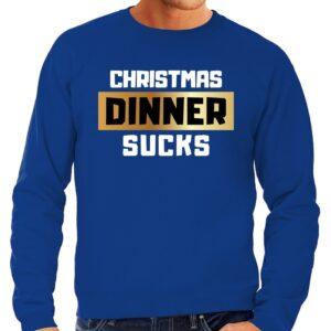 Foute Kersttrui Christmas dinner sucks blauw voor heren