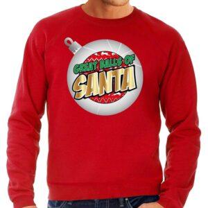 Foute Kersttrui Great balls of Santa rood voor heren