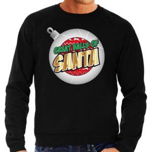 Foute Kersttrui Great balls of Santa zwart voor heren