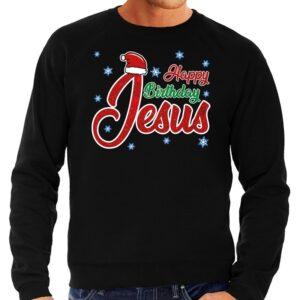 Foute Kersttrui Happy Birthday Jesus zwart voor heren