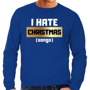 Foute Kersttrui I hate Christmas songs blauw voor heren