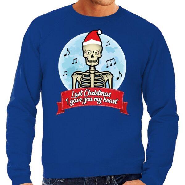 Foute Kersttrui blauw Last Christmas I gave you my heart heren