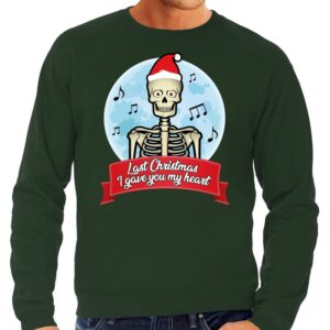 Foute Kersttrui groen Last Christmas I gave you my heart heren