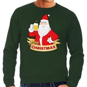 Foute Kersttrui kerstman met een pul bier groen voor heren