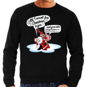 Foute Kersttrui zingende kerstman met gitaar zwart voor heren