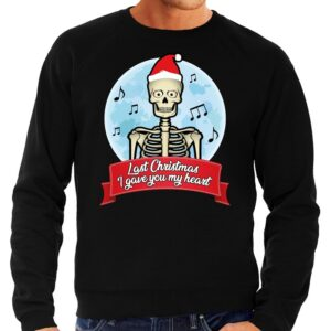 Foute Kersttrui zwart Last Christmas I gave you my heart heren