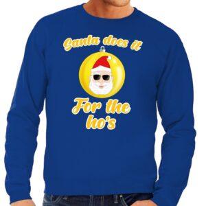 Foute kersttrui Kerstman does it for the ho's blauw voor heren