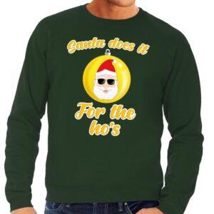 Foute kersttrui Kerstman does it for the ho's groen voor heren