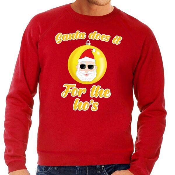 Foute kersttrui Kerstman does it for the ho's rood voor heren