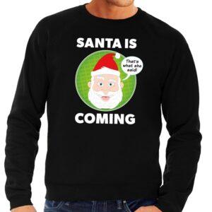 Foute kersttrui Santa is coming zwart voor heren