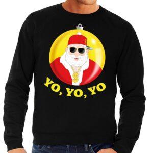 Foute kersttrui hip hop / rapper Kerstman zwart voor heren