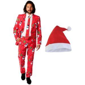 Heren Opposuits Kerst kostuum rood met kerstmuts - maat 56 (3XL)