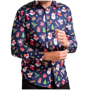 Heren kerst overhemd/blouse met kerstprint donkerblauw