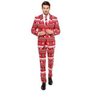 Heren kostuum met kerstboom print