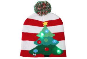 Kerstmuts met lichtjes 4 - Kerstboom rood/wit