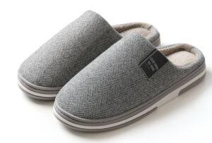 Visgraat pantoffels voor dames en heren Maat 40/41 - Lichtgrijs